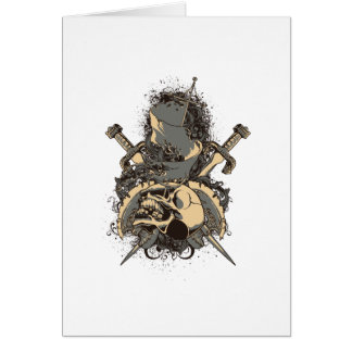 vintage skull and dagger design vector greeting card