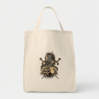 vintage skull and dagger design vector grocery tote bag