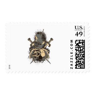 vintage skull and dagger design vector postage stamp