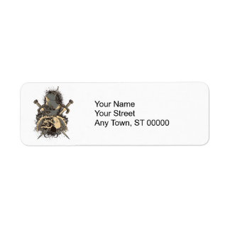 vintage skull and dagger design vector return address label