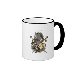 vintage skull and dagger design vector ringer coffee mug