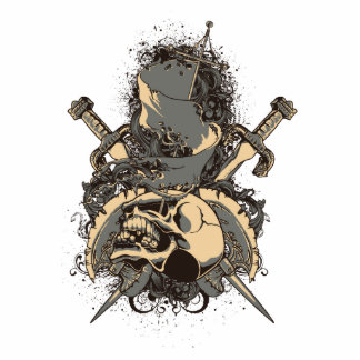 vintage skull and dagger design vector standing photo sculpture