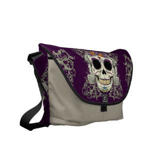Vintage Skull and Flowers Messenger Bag