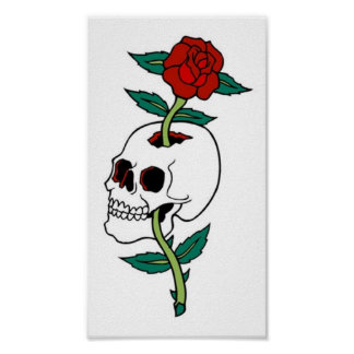 Vintage Skull and Rose Posters