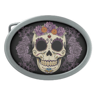 Vintage Skull and Roses Belt Buckle