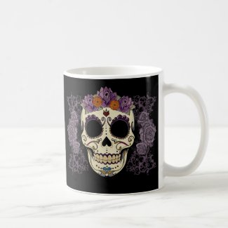Vintage Skull and Roses Coffee Mugs