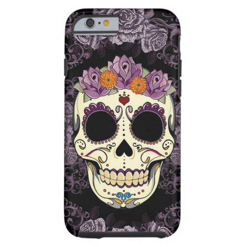 Vintage Skull and Roses iPhone 6 Tough Phone Case