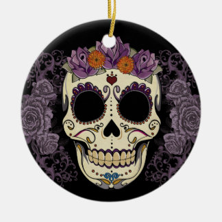 Vintage Skull and Roses Ornament