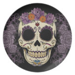 Vintage Skull and Roses Plate