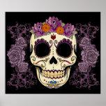 Vintage Skull and Roses Print
