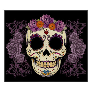 Vintage Skull and Roses Print