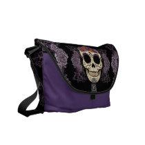 Vintage Skull and Roses Rickshaw Messenger Bag
