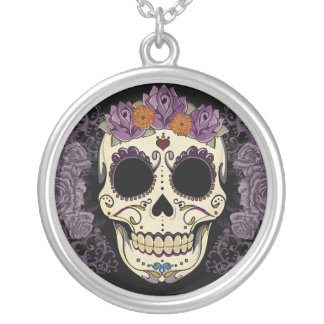 Vintage Skull and Roses Silver Plated Necklace