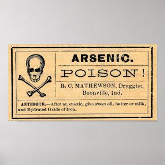Vintage Skull Arsenic Poison Label Poster Sign