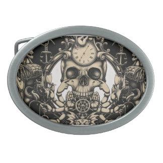 vintage skull clock design on oval belt buckle