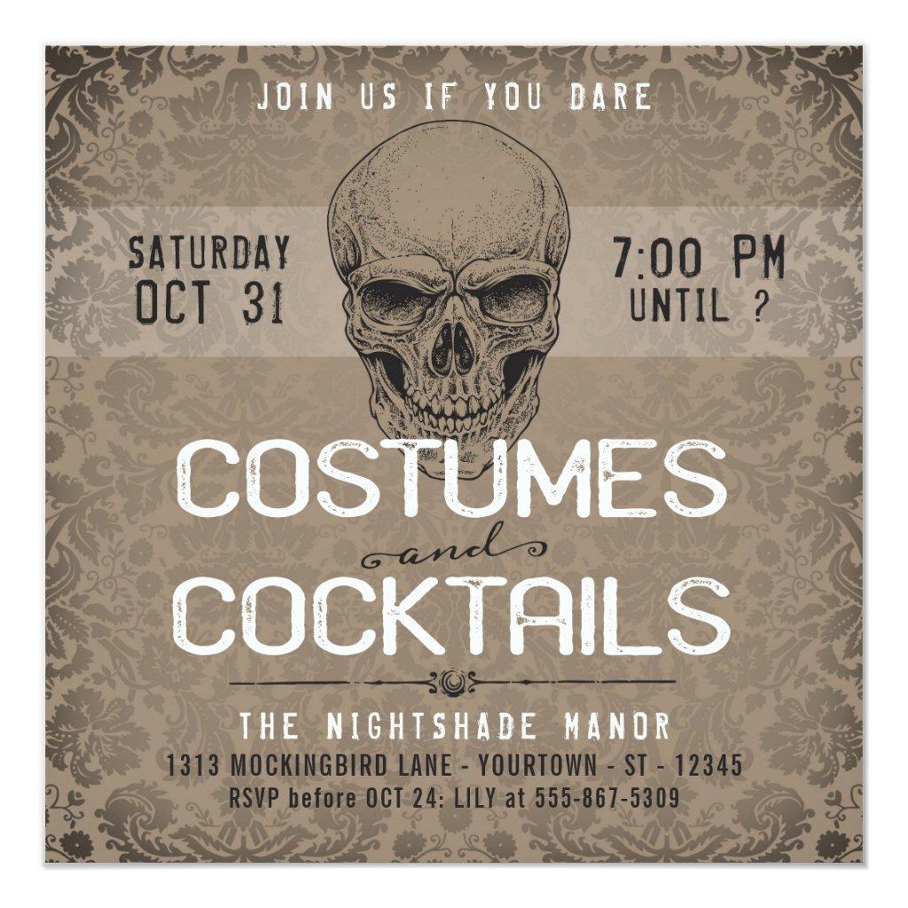 Vintage Skull | Costumes & Cocktails Halloween Invitation