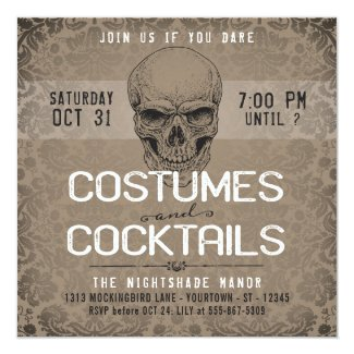 Vintage Skull | Costumes & Cocktails Halloween Invitation