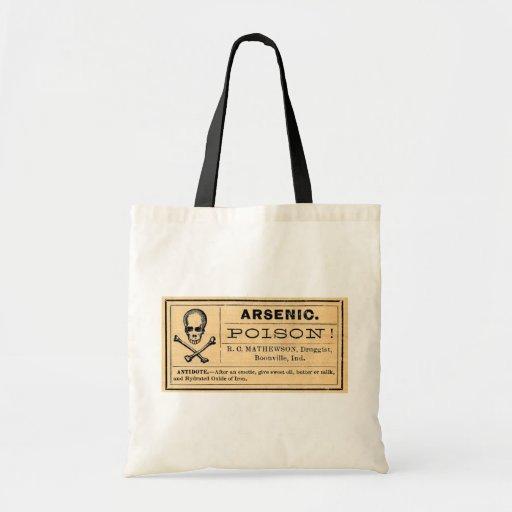 Vintage Skull Crossed Bones Arsenic Poison Label Budget Tote Bag