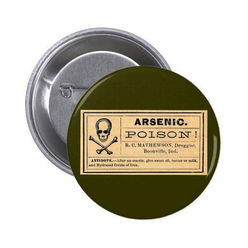 Vintage Skull Crossed Bones Arsenic Poison Label 2 Inch Round Button