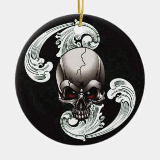 Vintage Skull Double-Sided Ceramic Round Christmas Ornament