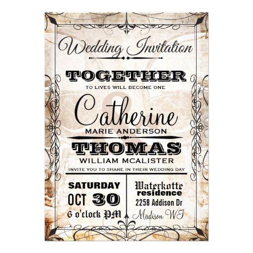 Vintage Skull & Flourishes Wedding Invitation