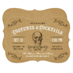 Vintage Skull Halloween Costume and Cocktail Party Invitation
