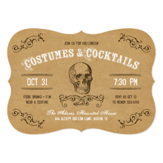 Vintage Skull Halloween Costume and Cocktail Party 5x7 Paper Invitation Card