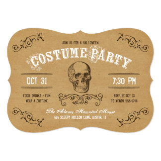 Vintage Skull Halloween Costume Party Card