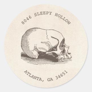 Vintage Skull Halloween Return Address Label Classic Round Sticker