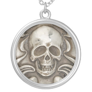 Vintage Skull Hammered Silver Costume Jewelry