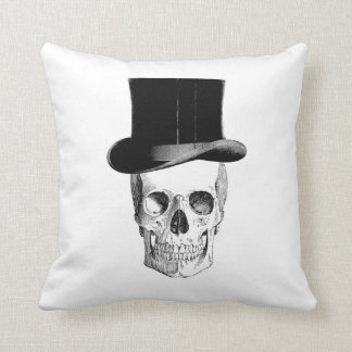 vintage skull illustration with hat cuscion throw pillow