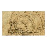 Vintage Skull Profile Engraving Lettered Business Card