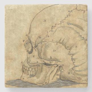 Vintage Skull Profile Engraving Lettered Stone Coaster