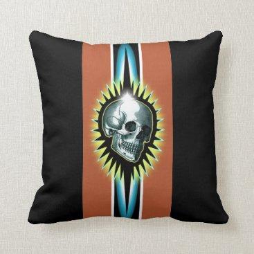 Beach Themed Vintage Skull Starburst Throw Pillow