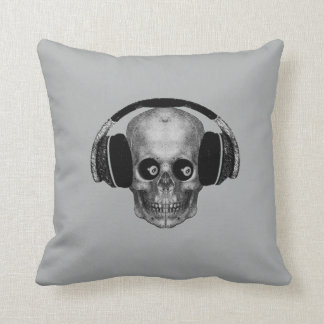 Vintage Skull with Headphones 2 sided green grey Throw Pillows