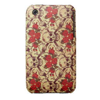 Vintage Skulls and Roses iPhone 3 Case-Mate Cases