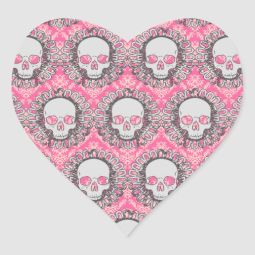 Gray And Pink Hearts: Vintage Skulls Gray And Pink Heart Stickers