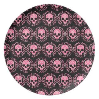 Vintage Skulls Pink and Black Plate