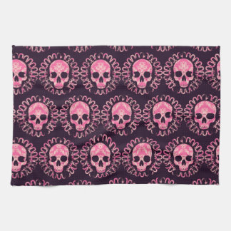Vintage Skulls Pink and Purple Towels
