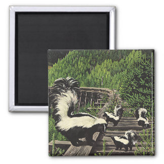 Vintage Skunks, Wild Animals and Forest Creatures 2 Inch Square Magnet