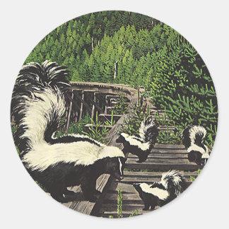 Vintage Skunks, Wild Animals and Forest Creatures Classic Round Sticker