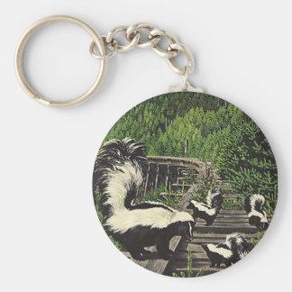 Vintage Skunks, Wild Animals and Forest Creatures Keychain