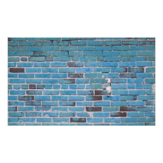 Vintage Sky Blue Brick Wall Texture Poster