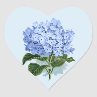 Vintage Sky Blue Hydrangea Flower Sticker