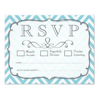 Vintage Sky Blue White Chevron Wedding RSVP Cards