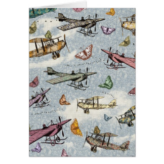 Vintage Sky - Planes and Butterflies Card