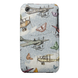 Vintage Sky - Planes and Butterflies iPhone 3 Cover