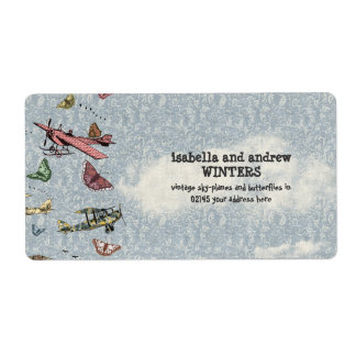 Vintage Sky - Planes and Butterflies Label
