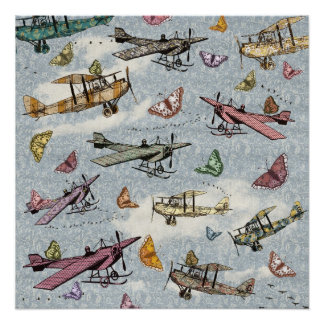 Vintage Sky - Planes and Butterflies Poster