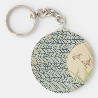 Vintage Sky Watercolor Art Basic Round Button Keychain